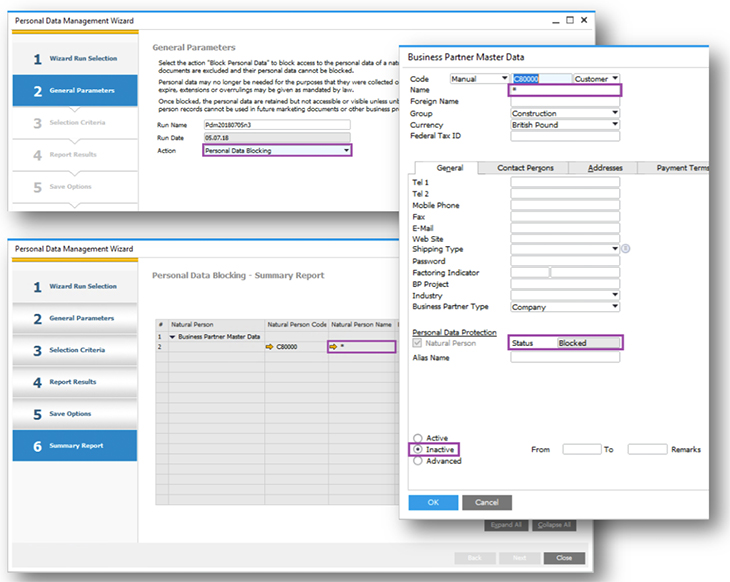 Screenshots zu den DSGVO Neuerungen in SAP Business One
